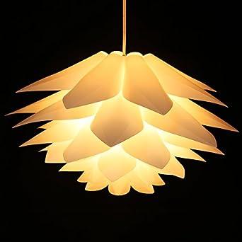 Lampwin Ceiling Pendant Lights DIY IQ Jigsaw Puzzle Lotus Flower Lamp Shade  Kit Chandelier 53CM/21Inch Diameter (White)