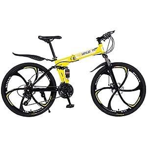"""41E7UrToY%2BL. SS300 JXH 26"""" 21-velocità Mountain Bike per Adulti, Alluminio Leggero Sospensione Totale Frame, Forcella della Sospensione, Freni a Disco,Giallo"""