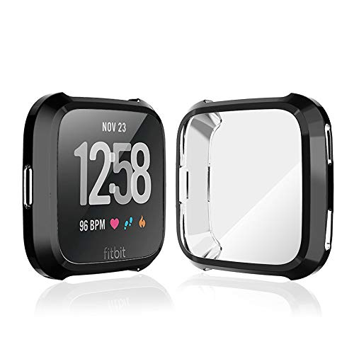 iHYQ TPU Plated Screen Protector Rugged Cover Scratch-Proof All-Around Protective Bumper Shell for Fitbit Versa Smartwatch, Black