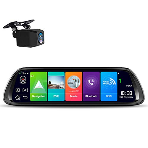 "LPWCAWL Dash Cam,Front and Rear Dual Cameras Streaming Rear View Mirror Dash Cameras with Night Vision,10"" Touch Screen, External GPS,G-Sensor,ADAS"
