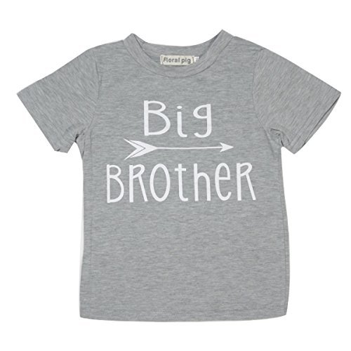 Winzik Newborn Infant Baby Boys Girls Outfits Big Sister and Brother Letters Print Romper Jumpsuit Clothes T-shirt (18-24 months, Big Brother) (Big Brother Little Brother Costumes)