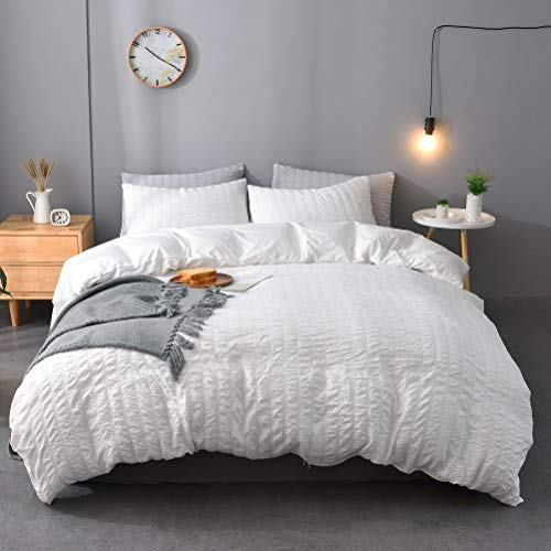M&Meagle 3 Pieces Solid Duvet Cover Textured Set with Zipper Closure,100% Washed Microfiber Seersucker Fabric,Luxury Hotel Quality Bedding