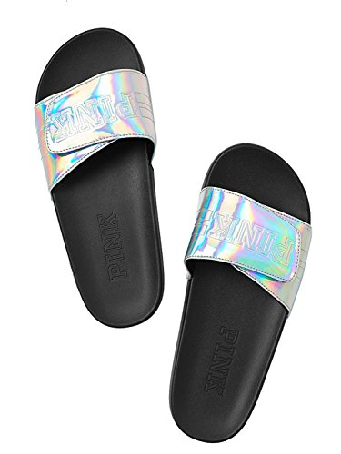 Victoria's Secret PINK Comfort Slide Silver Iridescent - Medium Size 7/8