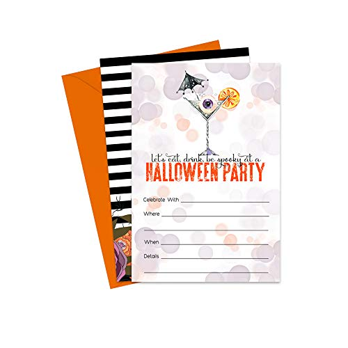 Halloween Cocktail Party Invitations (15 Pack) with Envelopes for $<!--$14.99-->