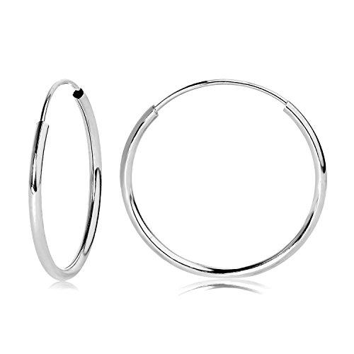 14k WG Endless Hoop Earrings 16mm ()