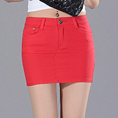 Jupe Fit Unie Slim Jean Couleur Femmes Rouge A t 1 Court Ligne en Poches g8qqwYx