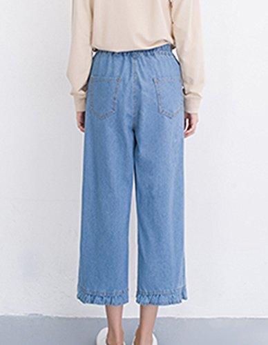Larghi Alta Denim Chiaro Sciolto Straight Pantaloni Femminili Grandi Vita Azzurro Jeans Del Ginocchio Donne In SqXtn7w6Ht