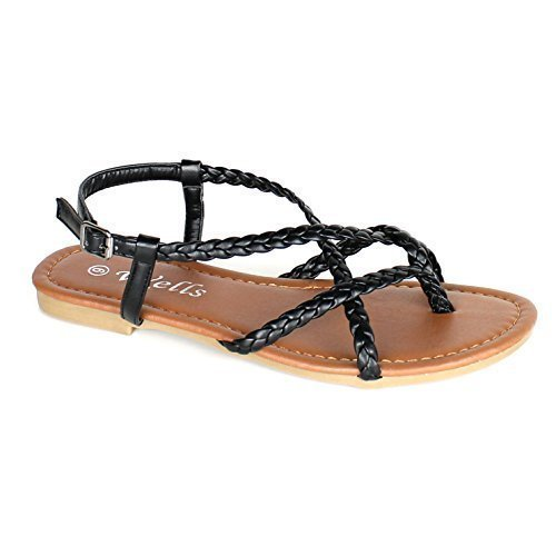 Women's Braided Strappy Gladiator Flat Sandal Y-Strap Thong Flip Flop Crossing Over Flat Sandals (7, (Flip Flops Thong Strappy Sandals)