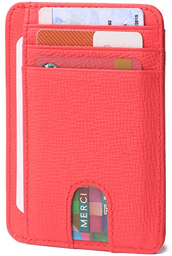 - Slim Minimalist Credit Card Holder Small Front Pocket RFID Blocking Leather Wallets for Women & Men Strawberry Red