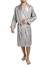 Binken Men's Satin Robe Printed Bath Sleepwear Long Classic Charmeuse Robe