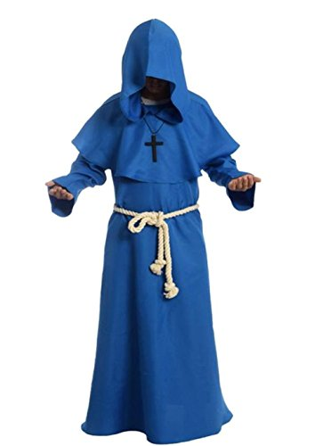 Friar Medieval Hooded Monk Renaissance Priest Robe Costume Cosplay blue XL