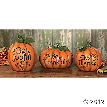 3 Carved Pumpkin Set Thanksgiving Fall Table Top Decoration