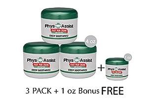 PhysAssist Foot Pain Cream- 3 pack + 1 oz BONUS