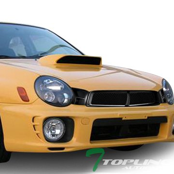 Topline Autopart Matte Black STI Aluminum Mesh Front Hood Bumper Grill Grille ABS For 02-03 Subaru Impreza WRX ()
