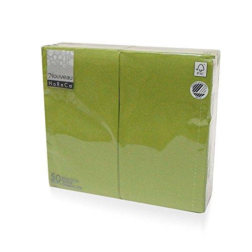 "(Nouveau Luxury Disposable Dinner Napkins, 17""x13"" Long 1/6 Fold, 50 Pack, 16 Different Color options (Olive)"