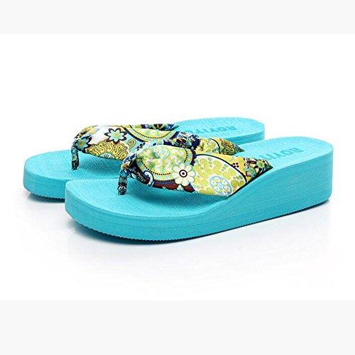 Haizhen Colori Sandali Modo Pattini Dimensioni Raso Scarpe Con 1003 colore Per Spiaggia Della 1001 Estate Del 5cm 4 Femminili Donne Donna Le Da 38 Di Panno TqWTAvr