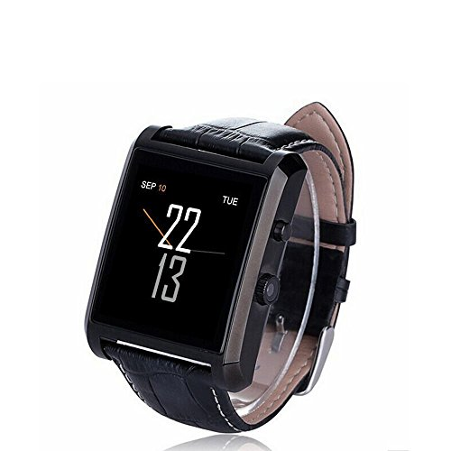 Olivia Bluetooth 4.0 Smart Watch Waterproof Wrist Phone Camera Touch Screen PU Leather Strap Band Smartwatch for IOS iPhone 6 6 plus Samsung Android Smartphones Arm Wristband Accessories , Black