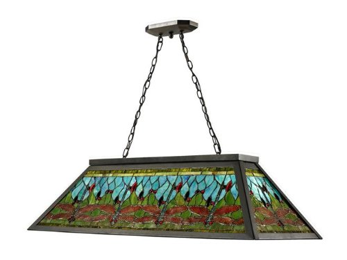 Tiffany Island (Dale Tiffany TH12406 Glade Pool Table Hanging Fixture, Dark Bronze)