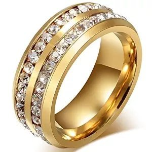 Mens Womens 8MM Titanium Stainless Steel High Polished 18K Gold Plated Channel Set Cubic Zirconia CZ Promise Engagement Band Unisex Gold Wedding Ring Comfort Fit, Size 6-13 (9, GOLD)