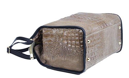 Made in Italy Ladies Cube Bag Henkeltasche Nubuk Alligator Kroko Prägung Taupe