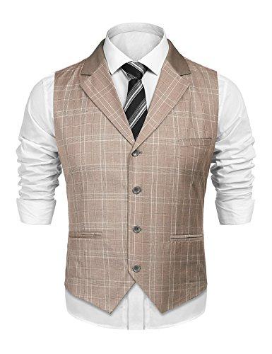 Gentlemans Coat (SIMBAMA Mens Skinny Formal Plaid Waistcoat Gentleman Business Suit Lapel Vest)