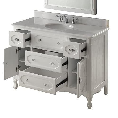 """lovely 48"""" Victorian Cottage White Knoxville Bathroom Vanity w/Mirror # GD-1522W-48MIR"""