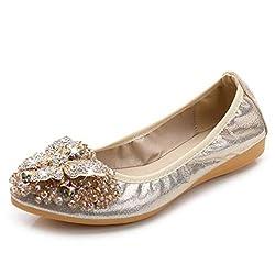 Slip On Leather Rhinestone Pointed Toe shoes