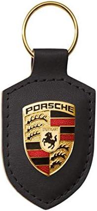 Porsche Schlüsselanhänger Wappen Metalllogo Auf Lederplatte Hier Plus Extra Schlüsselring Mit Schraubverschluss Original Sportwagen Design Made In Germany Schwarz Auto