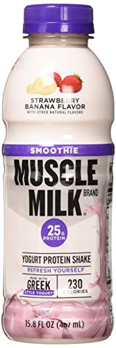 Muscle Milk Smoothie Protein Yogurt Shake, Strawberry Banana, 25g Protein, 15.8 FL OZ, 12 -