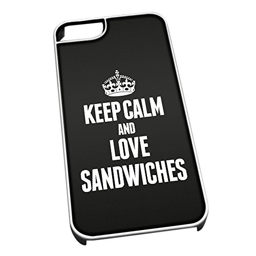 Bianco cover per iPhone 5/5S 1494nero Keep Calm and Love Sandwiches