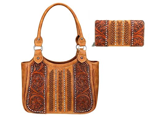 Trinity Ranch Montana West Tooled Leather Concealed Carry Tote Purse Wallet Set (Brown)