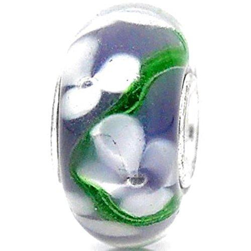 Charm Buddy Purple White Flowers Single Core Glass Charms Bead Fits Pandora Style Bracelets