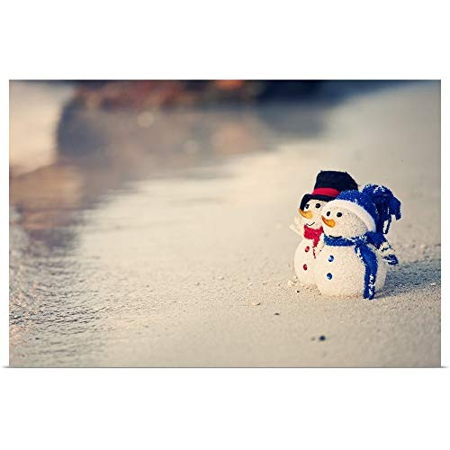 GREATBIGCANVAS Poster Print Entitled Two Cute Snowmen on The Beach in The Caribbean by 18