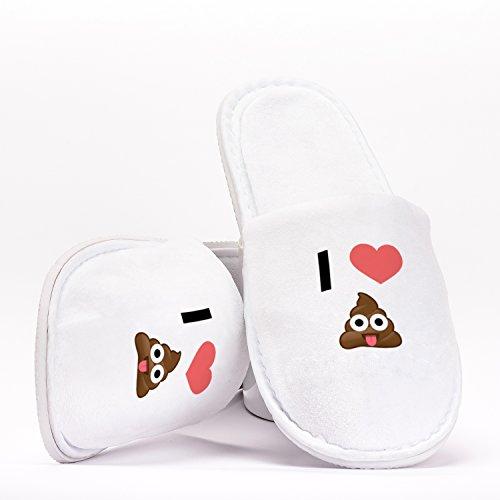 I Love Poop Emoji Heart Pantuflas como Regalo Original para Despedidas de Soltera Bodas Cumpleaños o Viajar de Talla Única