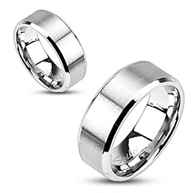 Milano Stainless Steel Ring.Milano Stainless Steel Brushed Center Flat Band Ring Wedding Band