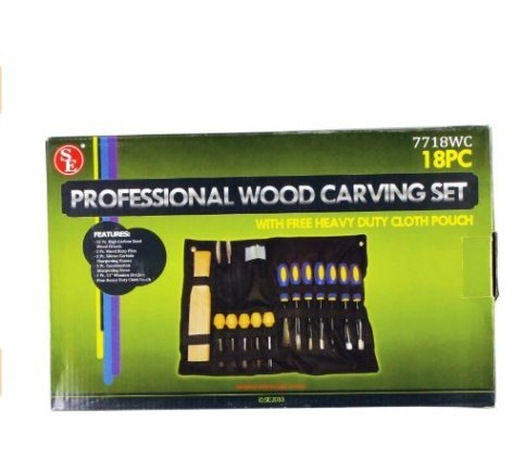 BEST PRICE 18 PC WOOD CARVING SET CARVERS TOOLS CHISELS KIT WOOD WORK CRAFT IN CLOTH POUCH