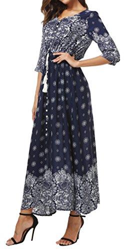 Redondo Mujer Vestido Manga para 3 Camisa 4 Cuello KorMei Azul wtdZ88