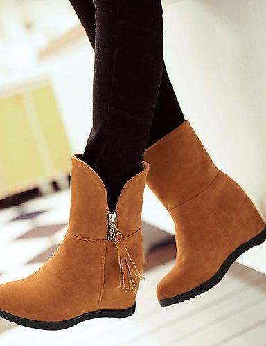 XZZ/ Damen-Stiefel-Kleid / Lässig-PU-Flacher Absatz-Flache Schuhe-Gelb / Rot / Beige fuchsia-us5.5 / eu36 / uk3.5 / cn35