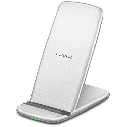 iPhone X Wireless Charger, Fast Wireless Charging Pad for Galaxy Note 8 / 5 S8 S8 Plus S7 / S7 Edge S6 Edge Plus, Standard Charge for iPhone X/ 8/ 8 Plus and All Qi Enable Devices (Silver)