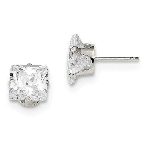 925 Sterling Silver 8mm Square Cubic Zirconia 4 Prong Stud Earrings (8mm x 8mm)