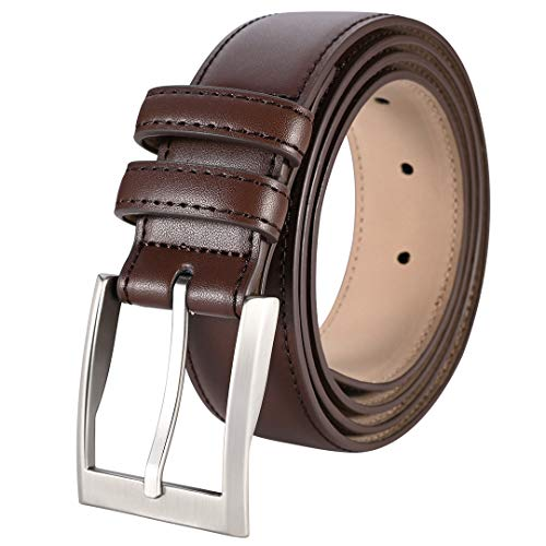 ToyRis Men's Casual Leather Belts with Single Prong Buckle Basic Dress Belt for Men, 1 3/8