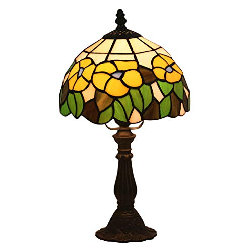Tiffany Style Table Lamp Stained Glass Desk Lamp 8 Inch Rural Baroque Lampshade for Living Room Bedroom Desk Beside Coffee Table Dresser Set,E27,Resinbase - Mediterranean Set Dresser