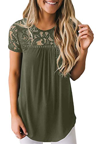 - Spadehill Women Short Sleeve Elegant Summer Blouse Cotton Casual Floral Lace Neck T Shirt Olive S