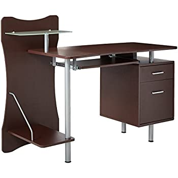 Beau Techni Mobili Stylish Computer Desk With Storage, Chocolate