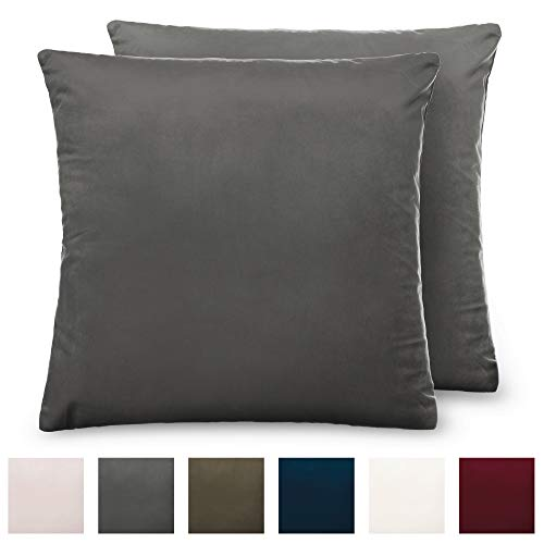 The Connecticut Home Company Luxury Velvet Throw Pillow Cases, Set of 2 Decorative Case Sets, Square Pillow Covers, Soft Pillowcases for Living Room, Bedroom, Couch, Sofa, Bed, 20x20, Charcoal (Two Of Pillows Set Decorative)