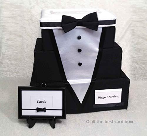 Tuxedo Wedding Card Box, Card Holder, 3 Tier Stacked, Black and White, Black fabric, White Satin,Handmade, allthebestcardboxes