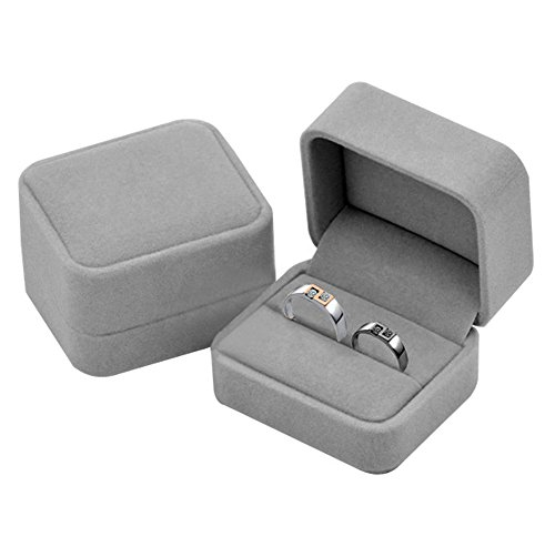 KINGWEDDING Flocked Earring Gift Boxes Jewelry Box,Rings Boxes - Double Box Ring