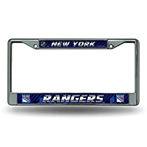 NHL New York Rangers Chrome License Plate Frame, 12 x 6 x .25-Inch, Silver