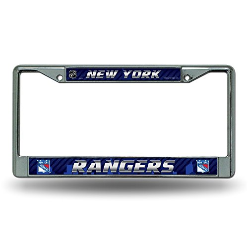 (NHL New York Rangers Chrome License Plate Frame, 12 x 6 x .25-Inch, Silver)