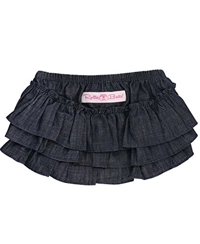 RuffleButts Baby/Toddler Girls Dark Denim Skirted Bloomer - 6-12m